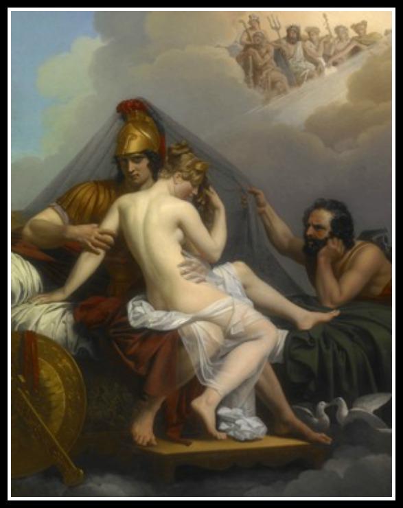 """""""Mars and Venus Surprised by Vulcan"""" by Joachim Wtewael. (1601)."""